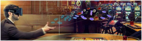 VR Casino Nutzer mit VR Brille und Jetons